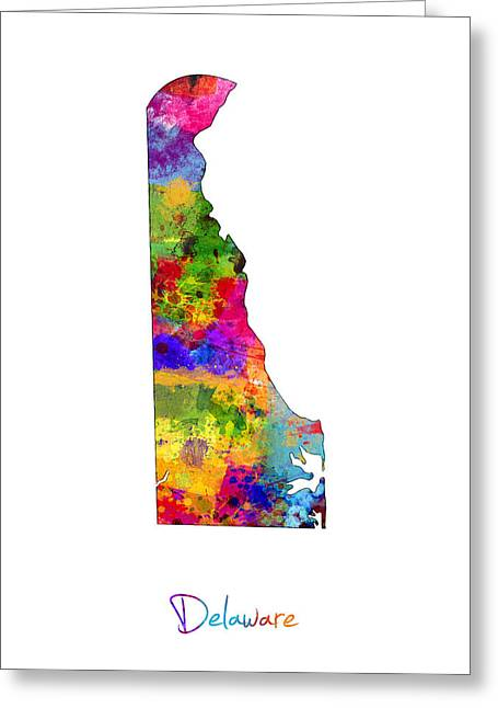 Delaware Map Greeting Card by Michael Tompsett