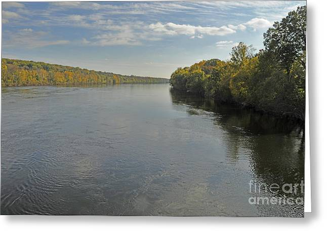 Delaware River In Autumn Greeting Card by Addie Hocynec