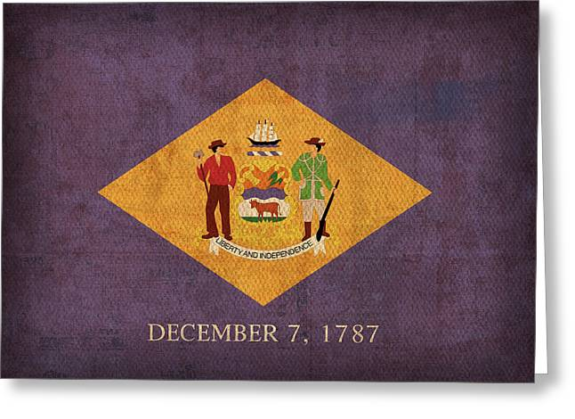 Delaware State Flag Art On Worn Canvas Greeting Card by Design Turnpike