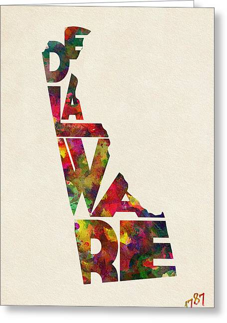 Delaware Typographic Watercolor Map Greeting Card by Ayse Deniz