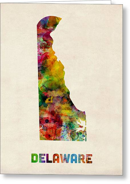 Delaware Watercolor Map Greeting Card by Michael Tompsett