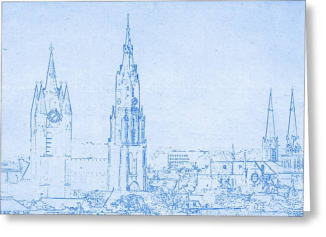 Delft Netherlands Blueprint Greeting Card by Celestial Images