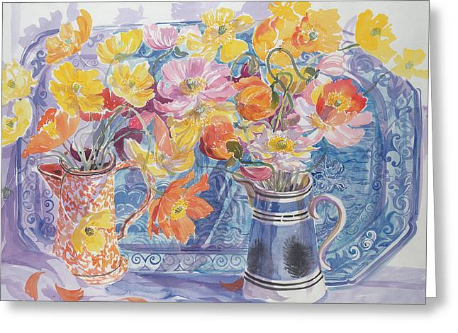 Delft Plate And Iceland Poppies Greeting Card by Elizabeth Jane Lloyd