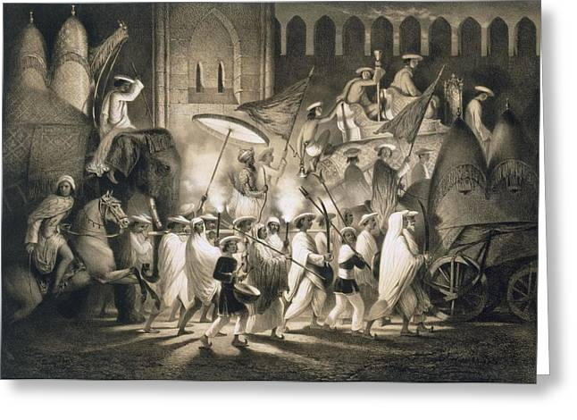 Delhi Cortege And Retinue Of The Great Greeting Card by A. Soltykoff