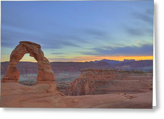 Greeting Card featuring the photograph Delicate Arch At Sunset by Alan Vance Ley