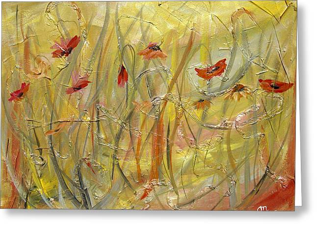 Greeting Card featuring the painting Delicate Poppies by Dorothy Maier