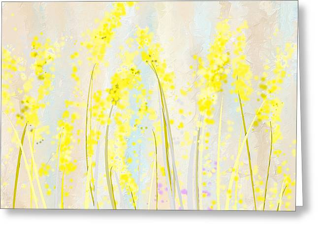 Delicately Soft- Yellow And Cream Art Greeting Card by Lourry Legarde