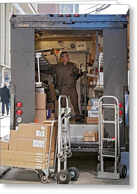 Deliver Driver Loading His Van Greeting Card by Jim West