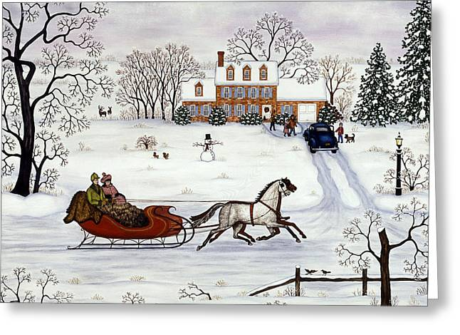Delivering Gifts Greeting Card by Linda Mears