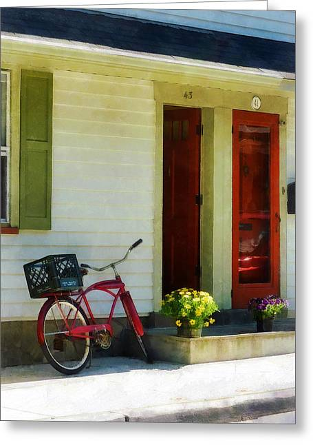 Delivery Bicycle By Two Red Doors Greeting Card by Susan Savad