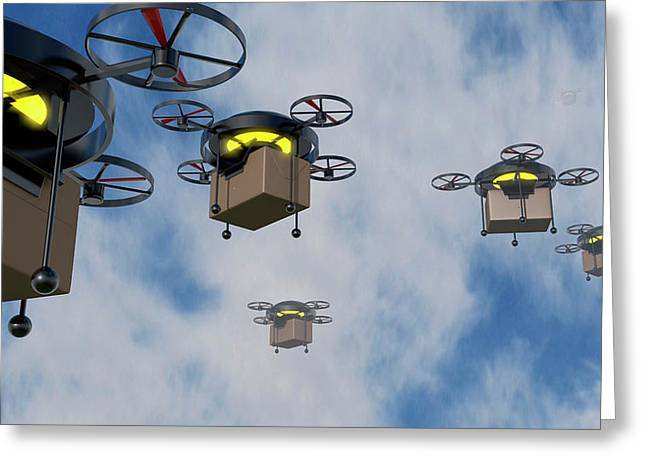 Delivery Drones Greeting Card by Christian Darkin
