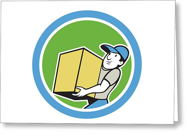 Delivery Worker Carrying Package Cartoon Greeting Card by Aloysius Patrimonio