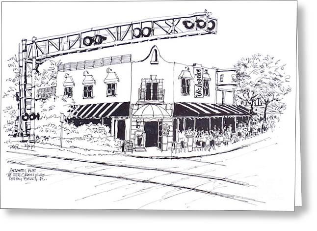 Delray Beach Restaurant. Vic Angelos On Atlantic Ave. At Railroad Crossing. Florida. Greeting Card