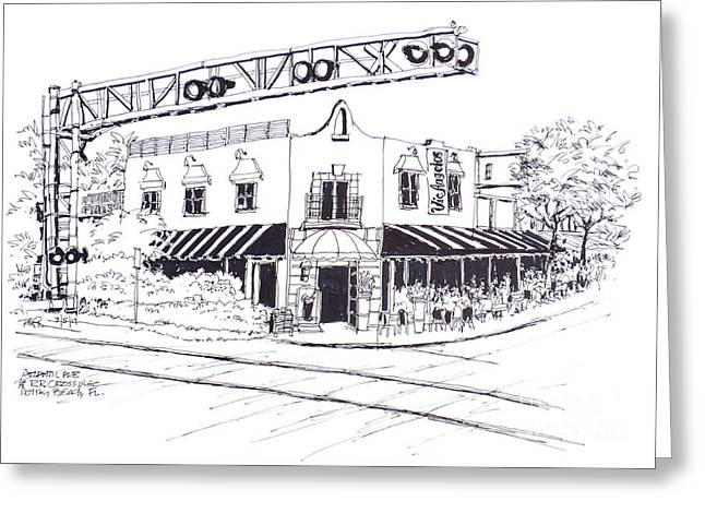 Delray Beach Restaurant. Vic Angelos On Atlantic Ave. At Railroad Crossing. Florida. Greeting Card