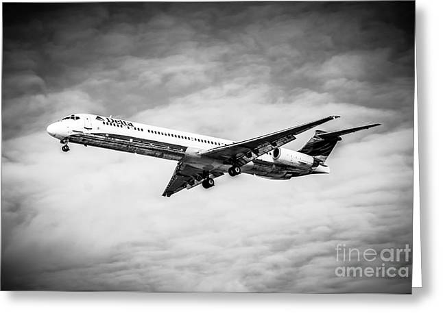 Delta Air Lines Airplane In Black And White Greeting Card by Paul Velgos