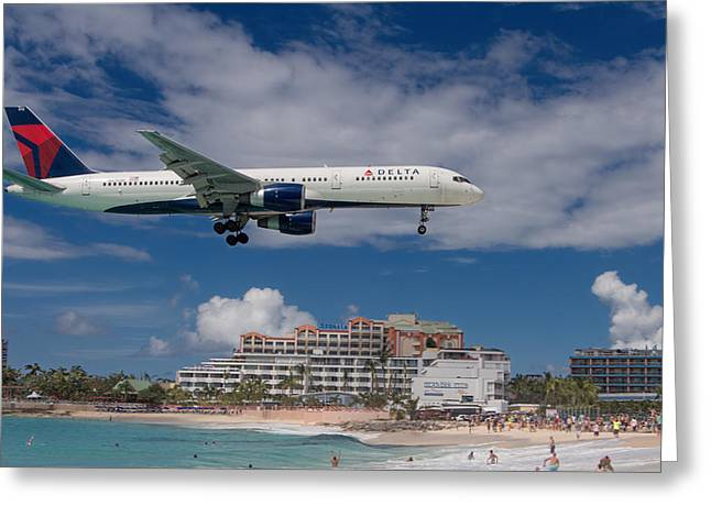 Delta Air Lines Landing At St. Maarten Greeting Card