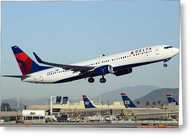 Delta Boeing 737-932 N822dn Phoenix Sky Harbor December 24 2014  Greeting Card by Brian Lockett