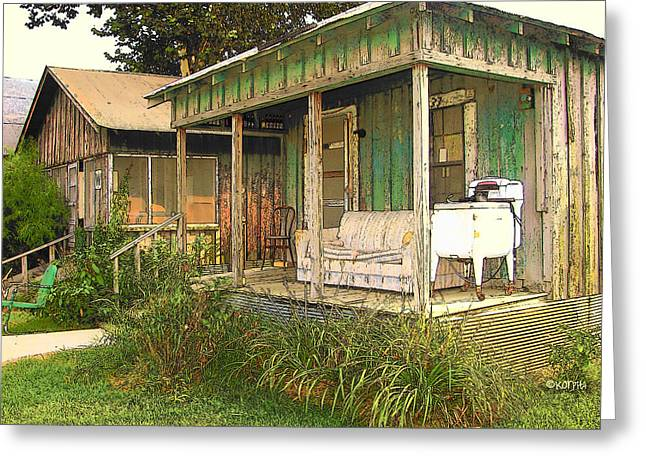 Delta Sharecropper Cabin - All The Conveniences Greeting Card by Rebecca Korpita