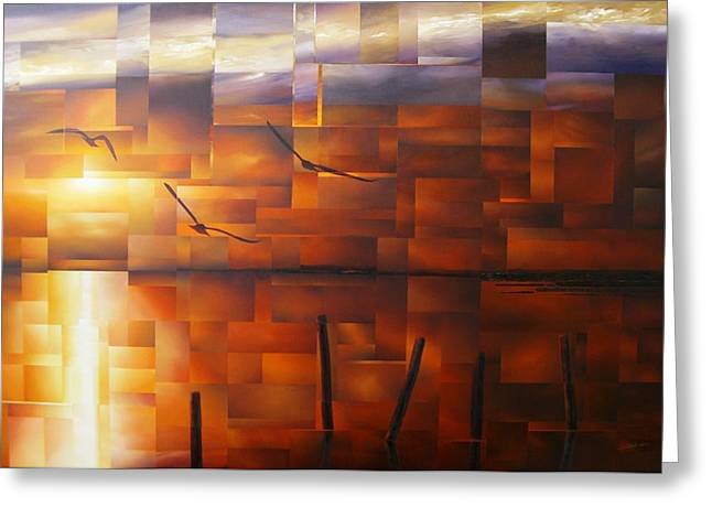 Delta Sunset Greeting Card by Laurend Doumba