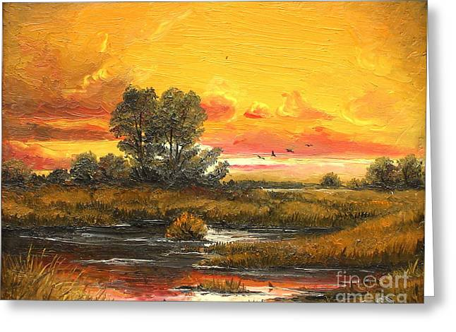 Delta Sunset Greeting Card by Sorin Apostolescu