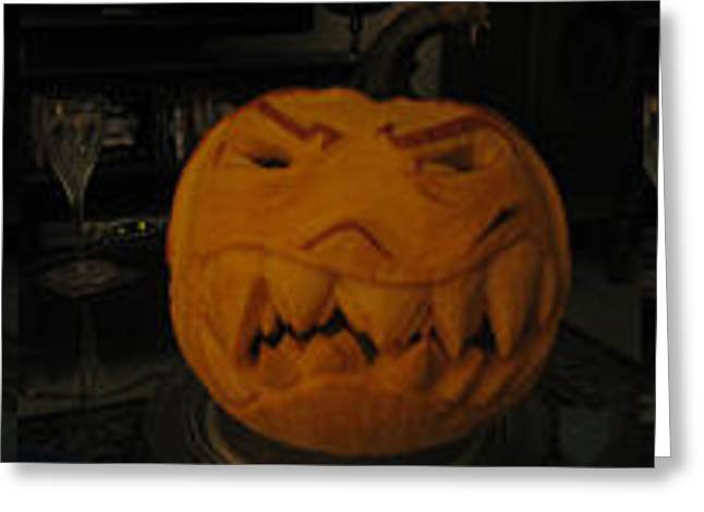 Demented Mister Ullman Pumpkin 3 Greeting Card