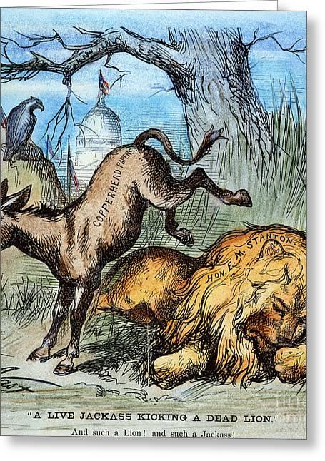 Democrat Donkey 1870 Greeting Card