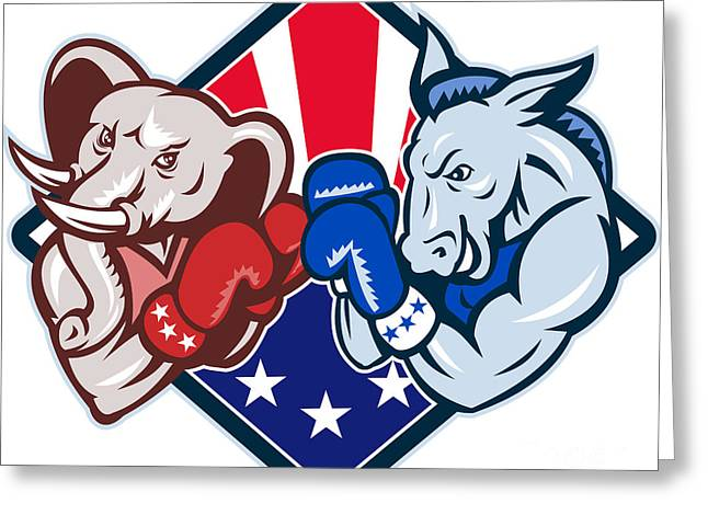 Democrat Donkey Republican Elephant Mascot Boxing Greeting Card