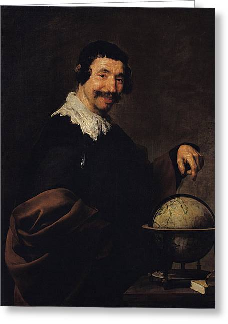 Democritus, Or The Man With A Globe Oil On Canvas Greeting Card