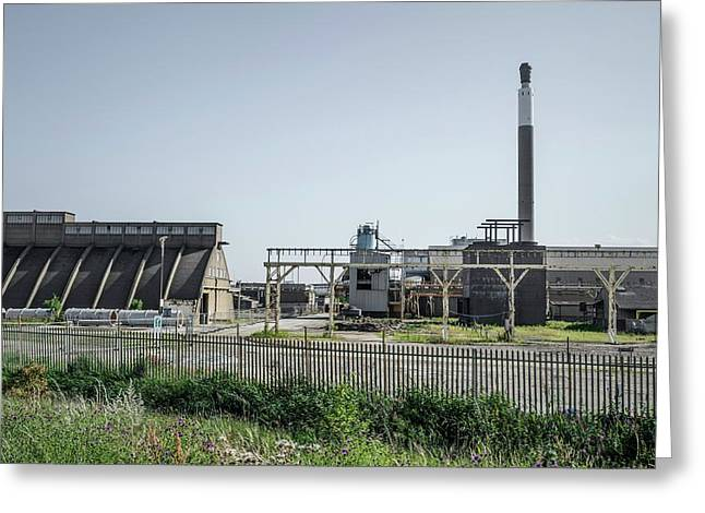 Demolition Of Chemical Plant Greeting Card by Robert Brook