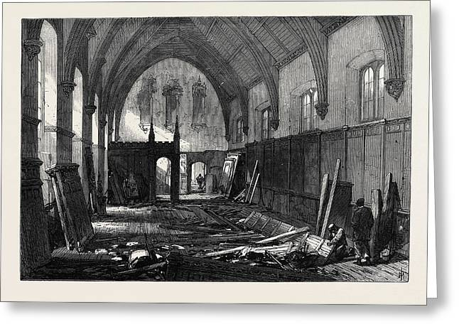 Demolition Of The Old Dining Hall Of The Inner Temple 1869 Greeting Card by English School