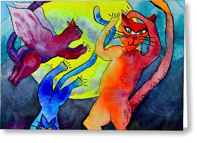 Demon Cats Dance By The Light Of The Moon Greeting Card