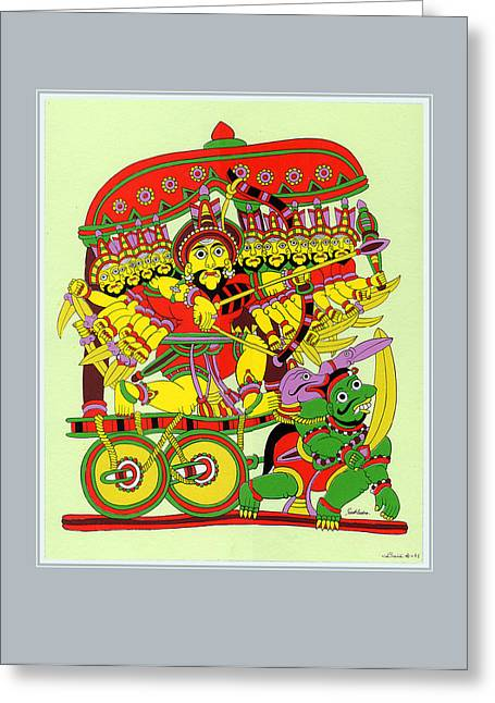 Demon King Ravana Greeting Card by Santi Arts