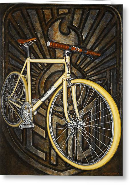 Greeting Card featuring the painting Demon Path Racer Bicycle by Mark Howard Jones