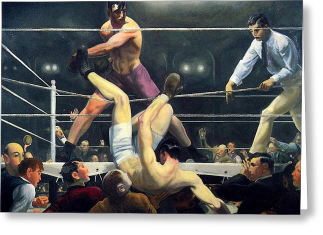 Dempsey And Firpo  Greeting Card by George Wesley Bellows