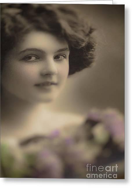 Demure Edwardian Beauty Greeting Card by Jan Bickerton