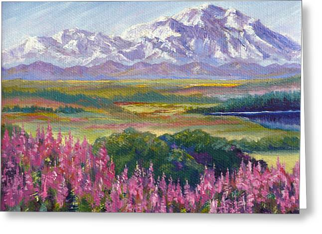 Denali And Fireweed Alaska Greeting Card by Karen Mattson