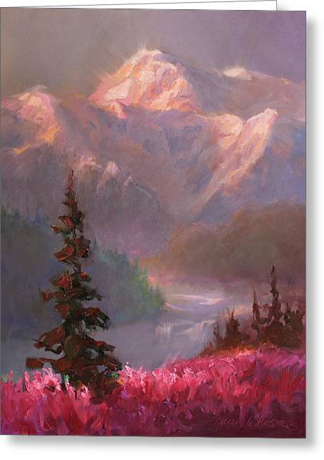 Denali Summer - Alaskan Mountains In Summer Greeting Card by Karen Whitworth