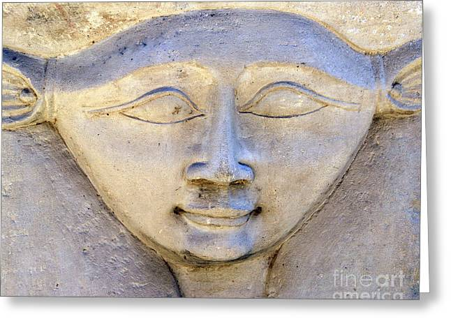 Dendara Carving 2 - Hathor Greeting Card by Brian Raggatt