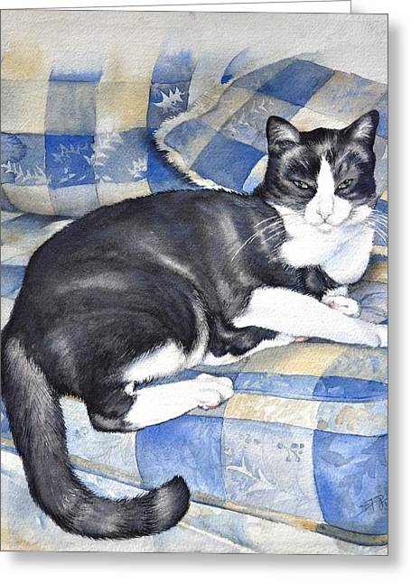 Greeting Card featuring the painting Denise's Cat by Sandra Phryce-Jones