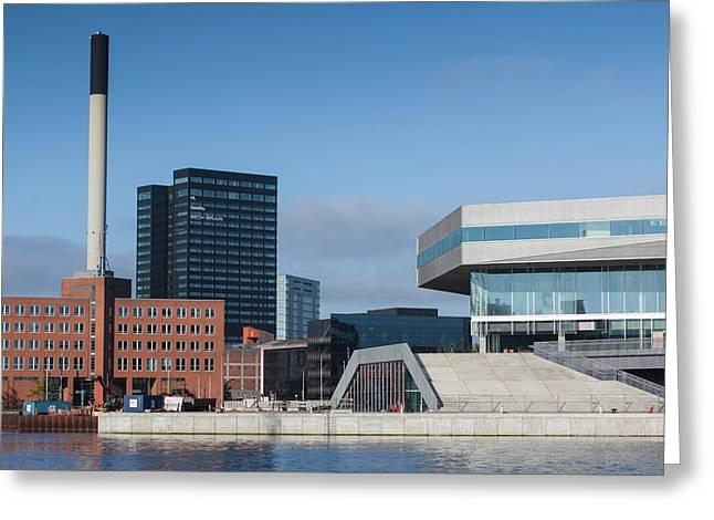 Denmark, Jutland, Aarhus, Waterfront Greeting Card