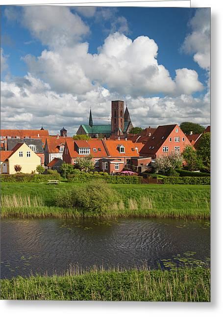 Denmark, Jutland, Ribe, Town View Greeting Card