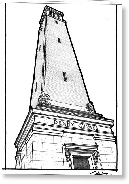 Greeting Card featuring the drawing Denny Chimes by Calvin Durham