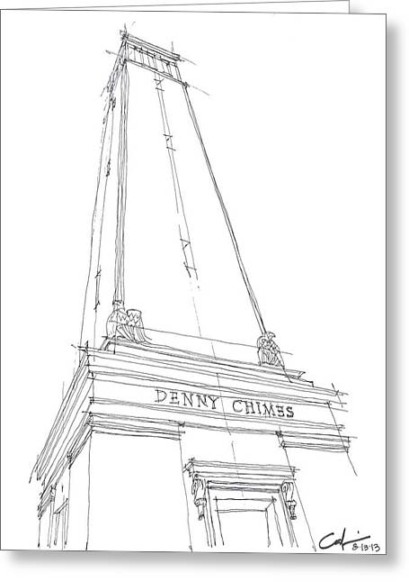 Greeting Card featuring the drawing Denny Chimes Sketch by Calvin Durham