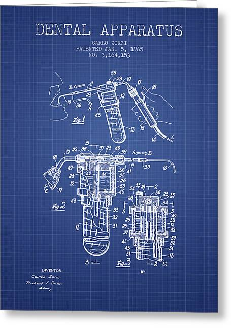 Dental Apparatus Patent Drawing From 1965 - Blueprint Greeting Card