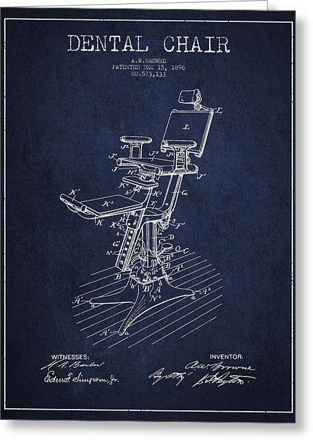 Dental Chair Patent Drawing From 1896 - Navy Blue Greeting Card by Aged Pixel