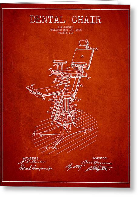 Dental Chair Patent Drawing From 1896 - Red Greeting Card by Aged Pixel