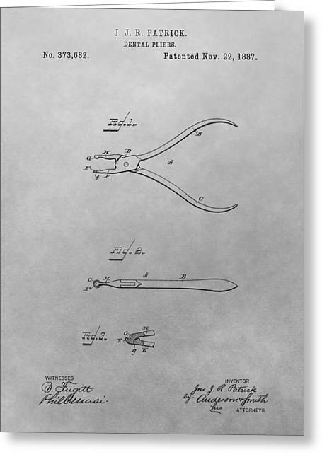 Dental Pliers Patent Drawing Greeting Card by Dan Sproul