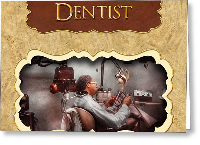 Dentist Button Greeting Card by Mike Savad