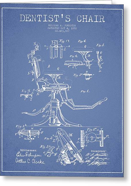Dentist Chair Patent Drawing From 1892 - Light Blue Greeting Card by Aged Pixel