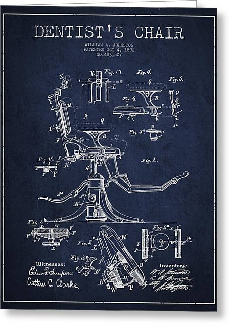 Dentist Chair Patent Drawing From 1892 - Navy Blue Greeting Card by Aged Pixel